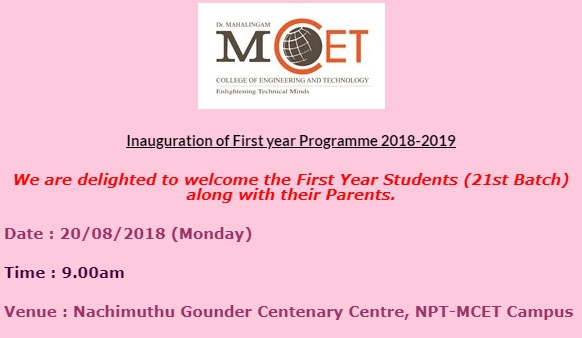 Inauguration of First Year Programmes 2018-19
