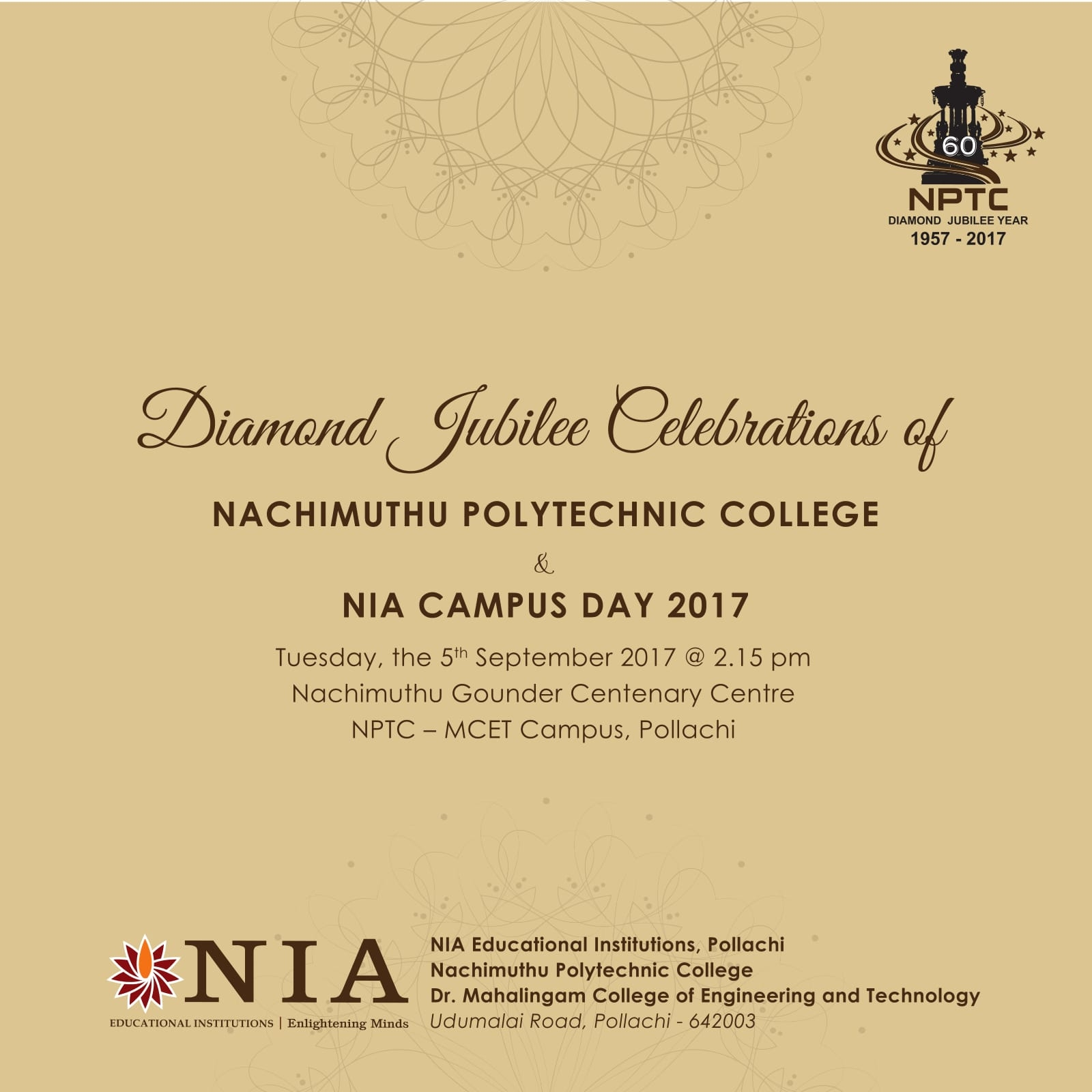 Diamond Jubilee Celebration of NIA Campus